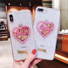 Cute Quicksand Cases For iPhone X XS Case 6 6s 7 8 Plus Glitter candy love Back Cover xs max