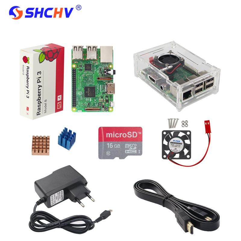 Raspberry Pi 3 Model B Starter Kit + 16 G SD Card + Acrylic Case + Cooling Fan + Power Adapter + 1.5M HDMI Cable + Heat Sink raspberry pi zero w basic starter kit raspberry pi zero 16g sd card power adapter acrylic case hdmi cable