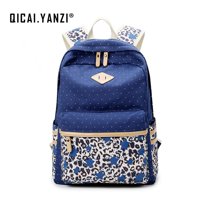 QICAI YANZI College Student Leopard Printing Bagpacks Women Dot Canvas Laptop Backpack Girls School Book Mochila