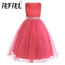 IEFiEL vestidos con flor de lentejuelas para niña, vestido de tul para dama de honor de chico Fiesta de bodas, vestidos de primera princesa de comunión para niño