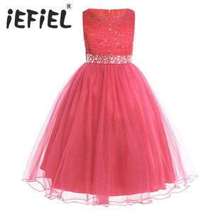 Image 1 - iEFiEL Sequined Flower Girls Dresses Kid Weddings Party Bridesmaid Tulle Dress Children First Communion Princess Summer Dresses
