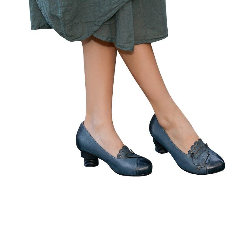 Donna Blu Originale Punta 2019 Mano Tacco In A Modo Pelle Fatte Donne Design Vera Con Di Scarpe Alto xxTR4wzq