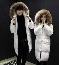 Unisex Man Women Winter Thick Jacket Duck Down Fur Collar Parka Long Sleeve Casual Hooded Overcoat Solid Winter Coat Parkas