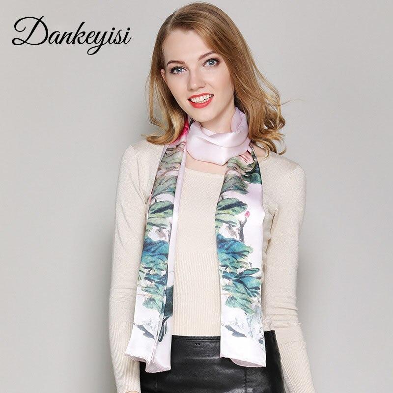 DANKEYISI Luxury Natural Silk   Scarf     Wraps   Women Neck   Scarf   Female Long Headband Bandana Print Pure Silk Lady   Scarves   Foulard