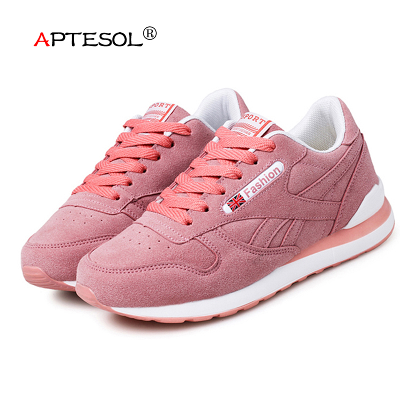 APTESOL Womens Outdoor Sport Brand Light Running Shoes Lace Up Breathable Sneakers Damping Anti Collision Suede Women Sneaker