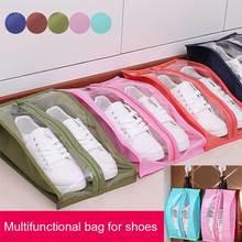 Portable Travel Supplies Organizer Shoes Storage Bag PVC Waterproof Dustproof Hanging Save Closet Rack Hangers J2Y