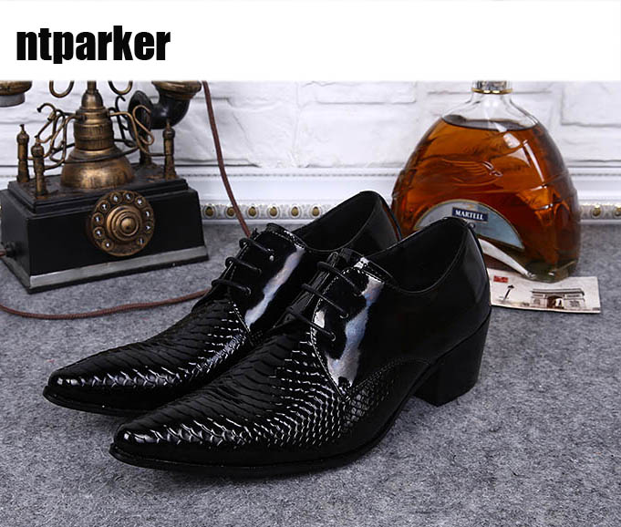 ntparker Big Sizes US6-US12 Man Dress Shoes Pointed Toe Leather Wedding Business Shoes for Man Leather Dress Shoes Fashion ntparker wine red high heels men dress shoes leather fashion business leather shoes handmade wedding shoes for men 38 46 big