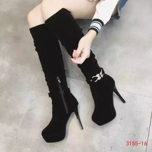 2016 Autumn And Winter Stiletto Heel Platform Knee High Women's Pointed Toe Dress Boots Black Shoes Rhinestones 13cm