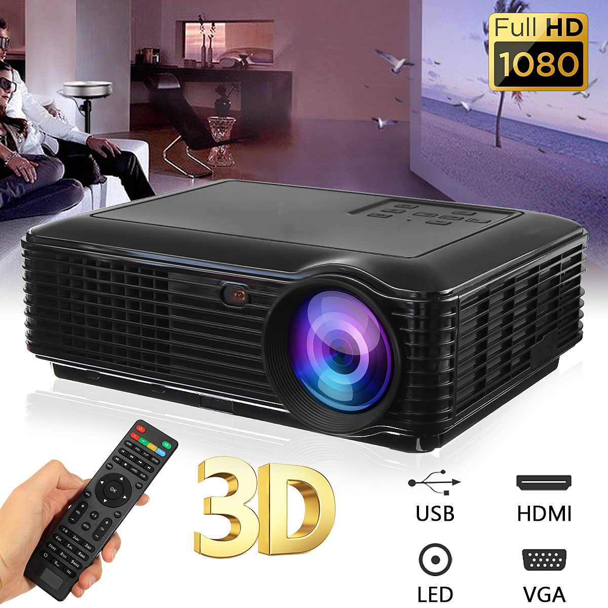 SV-228 1080P LED Mini Portable Projector 1280x800 HDMI USB AV SD  330 Lumens  Digital HD Home Theater Projector