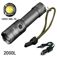 2000LM CREE XM-L T6 LED Zoomable Torcia Elettrica Ricaricabile Della Torcia + AC/DC Charger