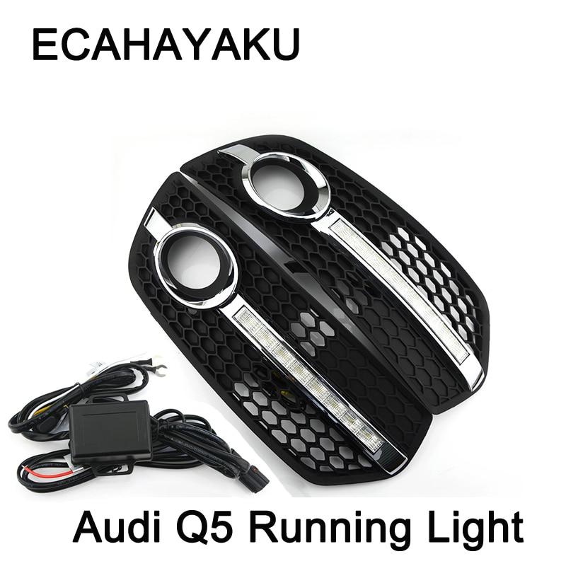1 Pair Car-styling DRL ABS Front Bumper Daytime Running Light Fog Light Covers Lamp Masks Fit For Audi Q5 09-13 pair car 55w h11 front bumper driving fog light lamp for audi a4 b6 sedan 02 05 03 04