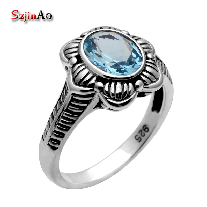 Szjinao Factory Processing and Wholesale Retro 1.1 Ct Sky Aquamarine Ring 925 Sterling Silver Rings for Women Cushion Wholesale