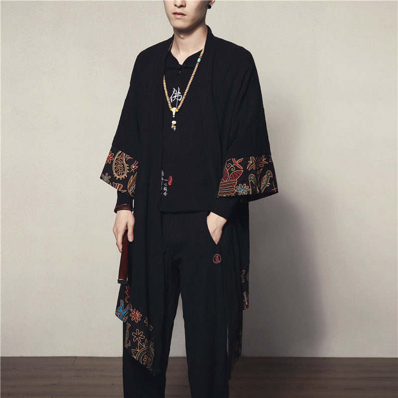 New Winter China Wind Code In The Long Section Of Mens Windbreaker Casual Loose Cloak Male Male Floral Cardigan Coat