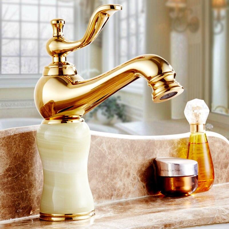Antique européen évier de cuisine robinets mitigeur d'eau, salle de bain jade bassin robinet doré, laiton toilette bassin robinet froid et chaud