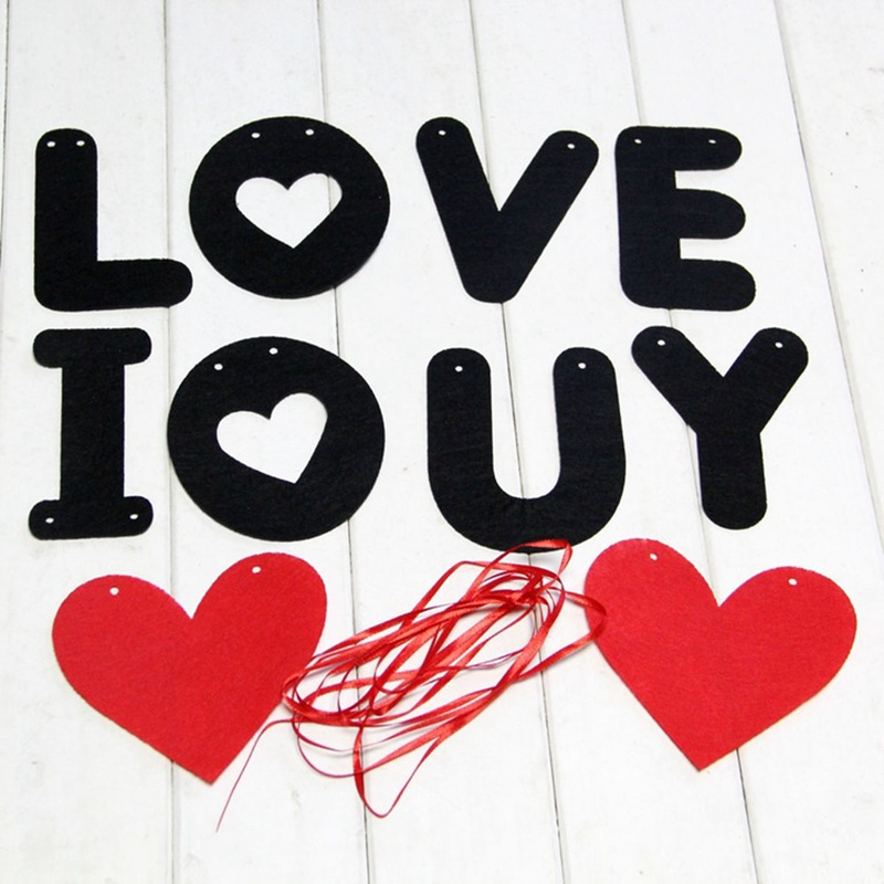 Retro Style Love Heart For Wedding Birthay Party Banner Pull Flower Decoration