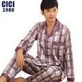 2016 new men's long-sleeved silk pajamas suit tracksuit thin section men's Comfortable casual summer Men's Pyjamas 59