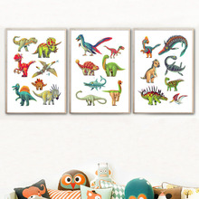 Nursery Dinosaur Wall Art Canvas Painting Kids Baby Room Decor Cartoon Nordic Poster Wall Pictures For Living Room Unframed цена