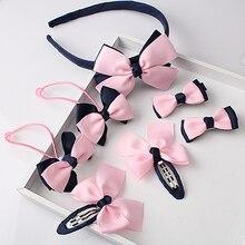 M MISM 1 комплект = 7 шт. Детские аксессуары заколка для волос резинки для волос для маленьких девочек милый бант головной убор заколка для волос головная повязка