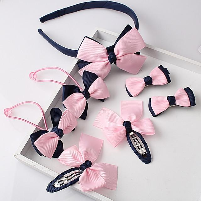 М мисм 1 комплект = 7 шт Детские Аксессуары Hairband заколки резинка для волос для маленьких девочек с милым бантом Головные уборы волос Зажимная лента