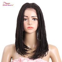 Golden Beauty 16inch Bob Synthetic Lace Front Wig With Baby Hair Box Braiding Hair Dark Brown