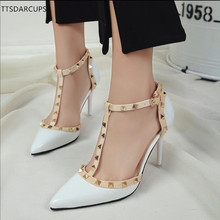 TTSDARCUPS summer new women shoes 10cm with fine heel high-heeled Rivet Buckled sexy night club pumps big size 34-41