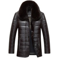 1302 Men's Winter Leather Jacket Men 90% White Duck Down Coats sheepskin leather Jacket Coat Man Winter DOWN COAT
