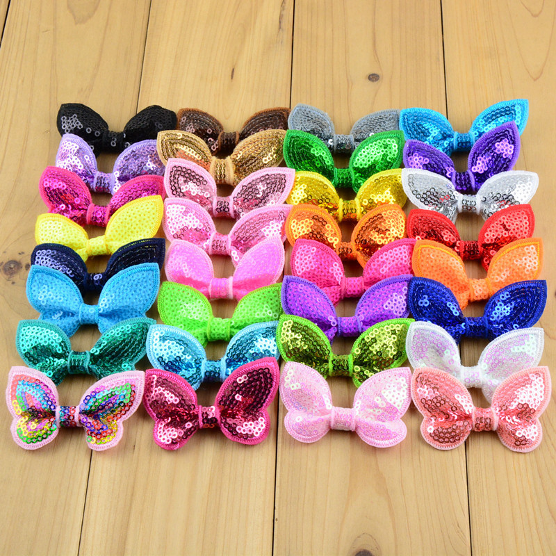 40pcs/lot 32 Color U Pick 2.36 Inch Glitter Butterfly Sequin Bow Knot Applique Boutique Hair Accessories DIY Sewing Craft Bow05