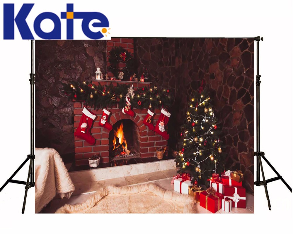 KATE Christmas Decorations For Home Decorative Fireplaces Backdrop Arvore De Natal Background Blanket Socks Gift Box Backdrops tissue box red cover christmas decorations