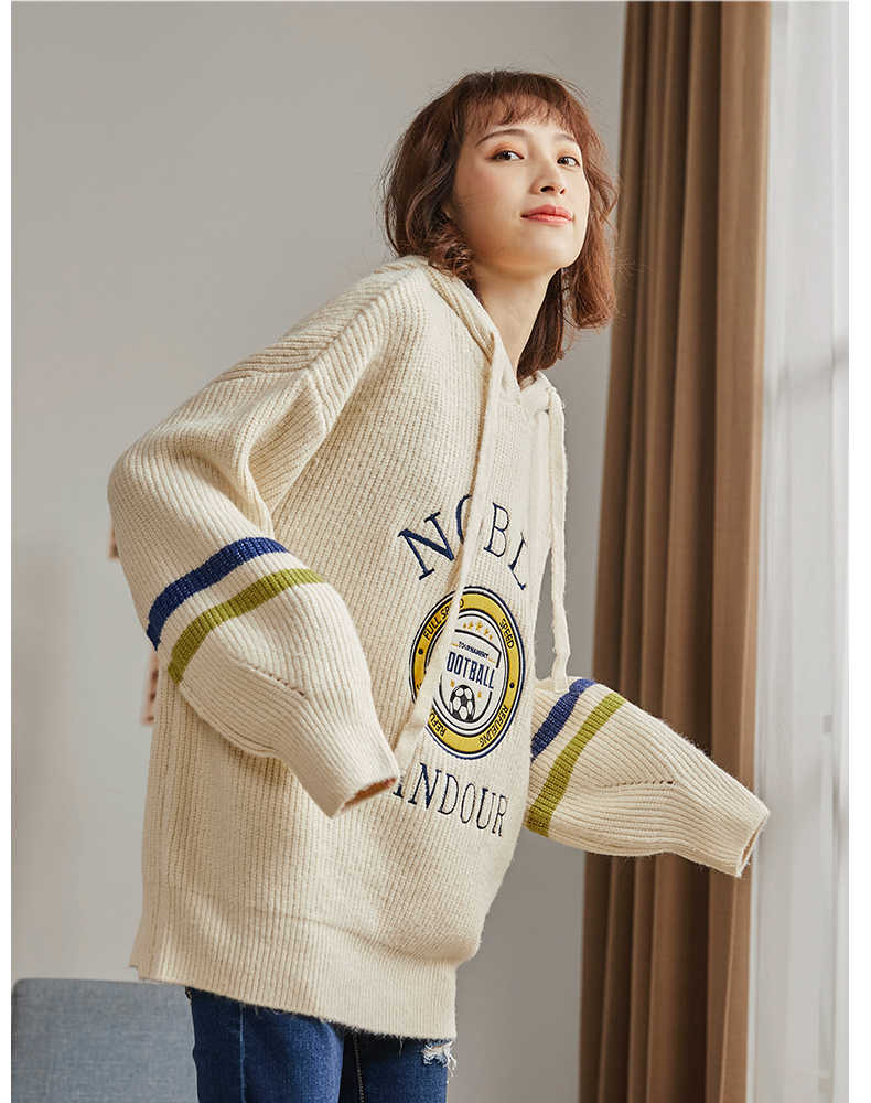 THUIMCNG 2019 primavera nuevo suéter largo con capucha mujeres suelta de manga larga suéter moda albaricoque set cabeza de punto camisa