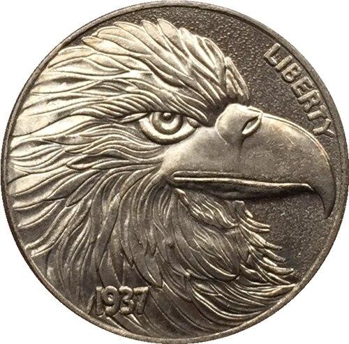 Хобо Никель 1937-d 3-ноги Буффало Никель монет КОПИЯ БЕСПЛАТНАЯ ДОСТАВКА #16