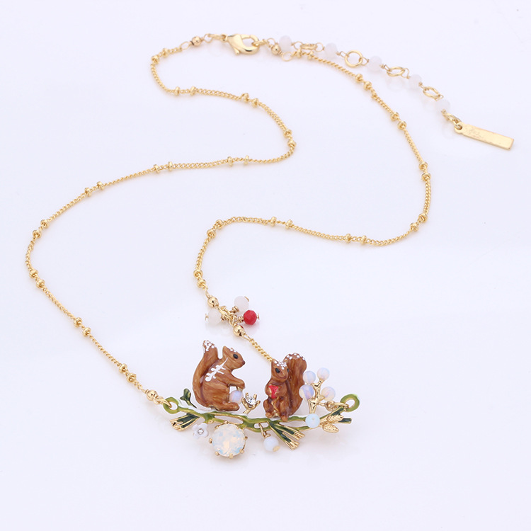 все цены на French Dyxytwe Lovely Animal squirrel necklace Mushrooms pine nuts snow Necklace Jewelry Sets For Women
