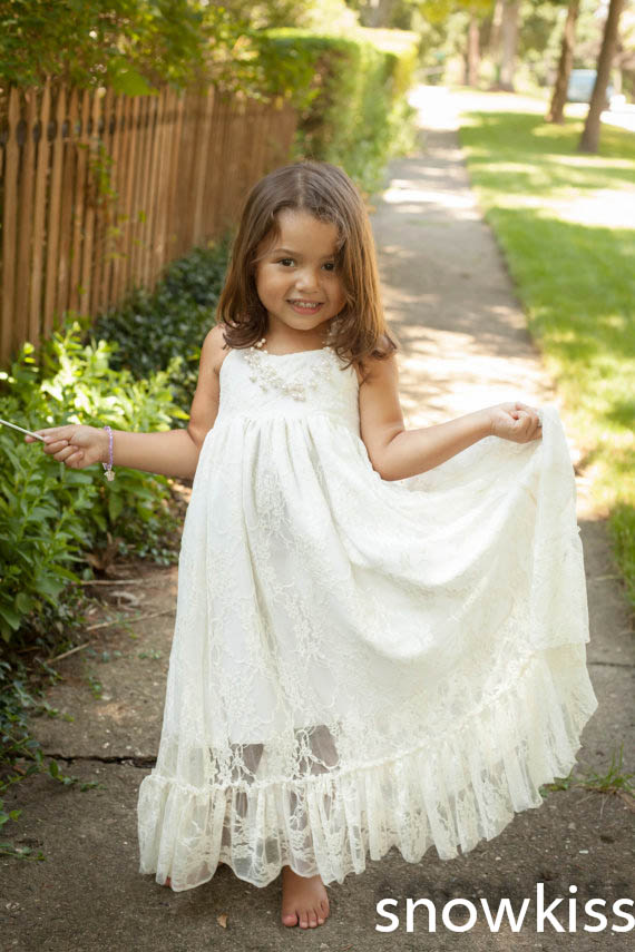 Halter long white/ivory hollow back lace flower girl dresses elegant A-line appliques  communion wedding birthday parties gowns
