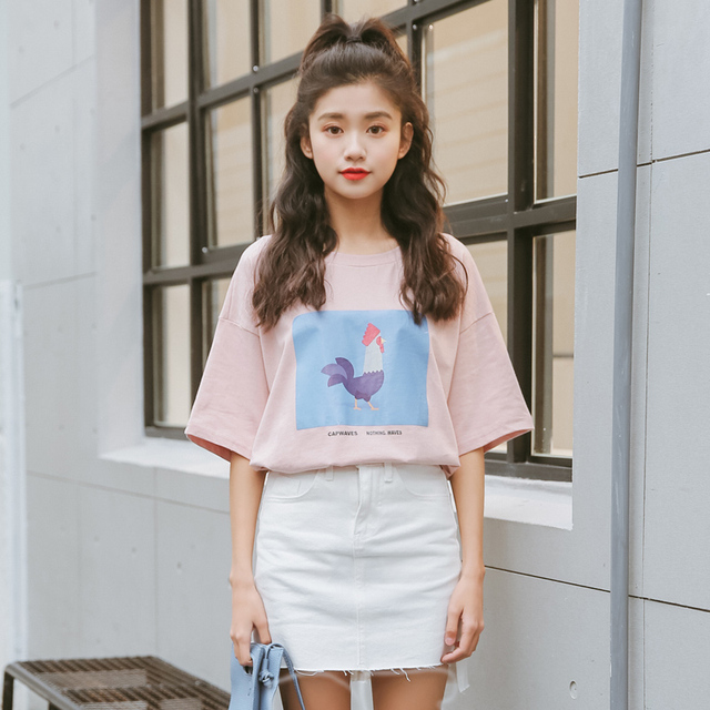 6f6664805b bts t-shirts women summer 2017 korean style harajuku shirt women spring fashion  retro sweet kawaii pink print cock t shirt women