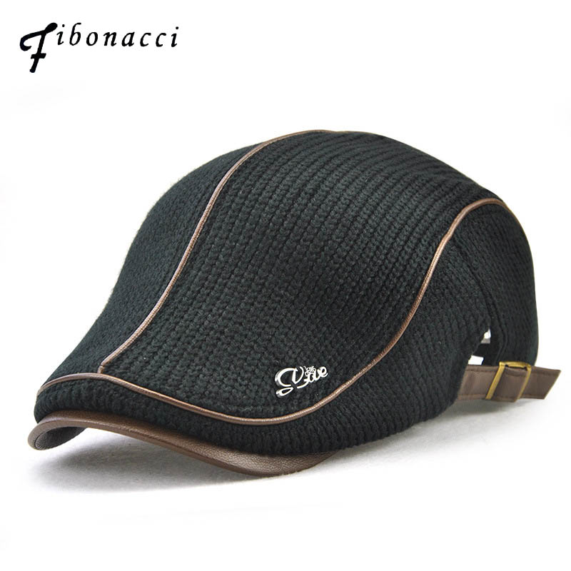 Fibonacci Knitted Faux Leather Patchwork Beret Hat Brand Quality Flatcap Vintage Newsboy Cap