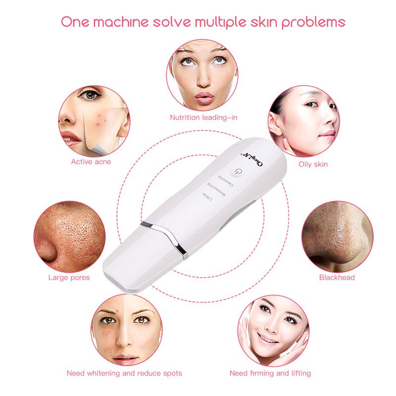 Image 2 - Ultrasonic Skin Scrubber Massager Machine Facial Pore Cleaner Deeply Cleaning Device Anion Face Care Peeling Shovel Lifting-in Powered Facial Cleansing Devices from Home Appliances