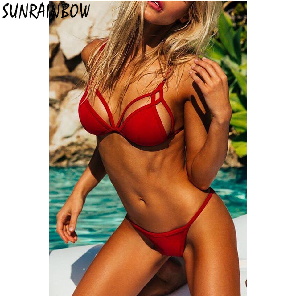 SUNRAINBOW <font><b>2019</b></font> New Arrival <font><b>Bikini</b></font> Set <font><b>Wome</b></font> <font><b>Swimwear</b></font> Women Swimsuit Female <font><b>Sexy</b></font> Summer Swimming Beach Bathing Suits Biquini image