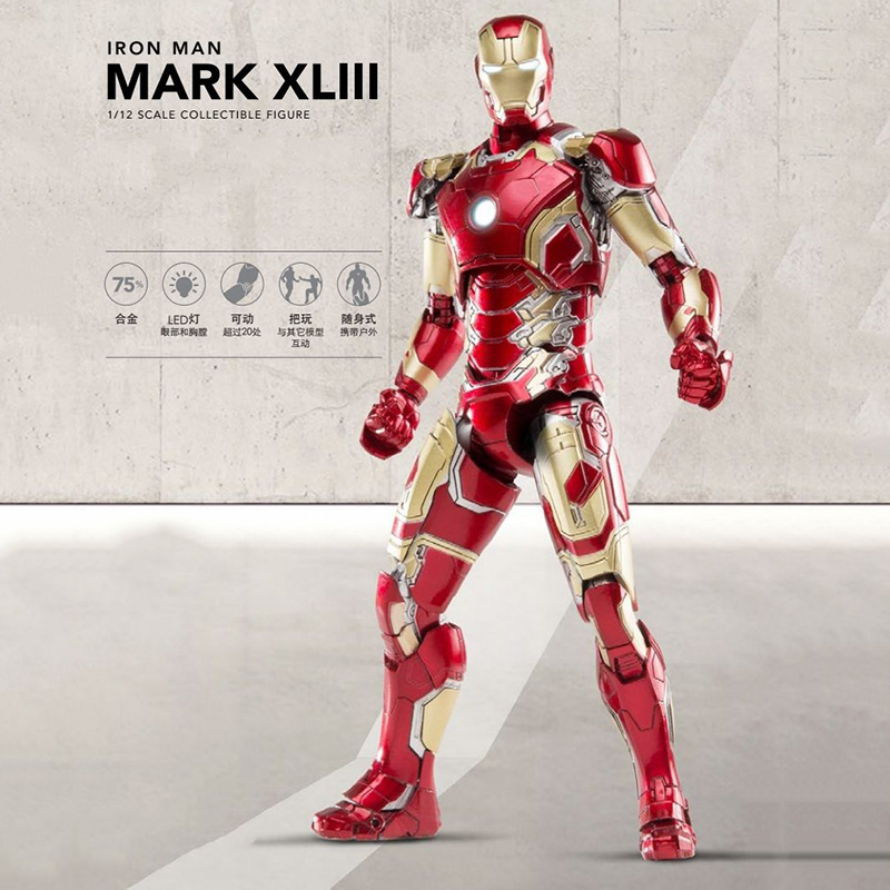 1/12 Super Flexible Iron man MK43 Action Figure The Avengers Collectible Model Toy man kung mk cb50