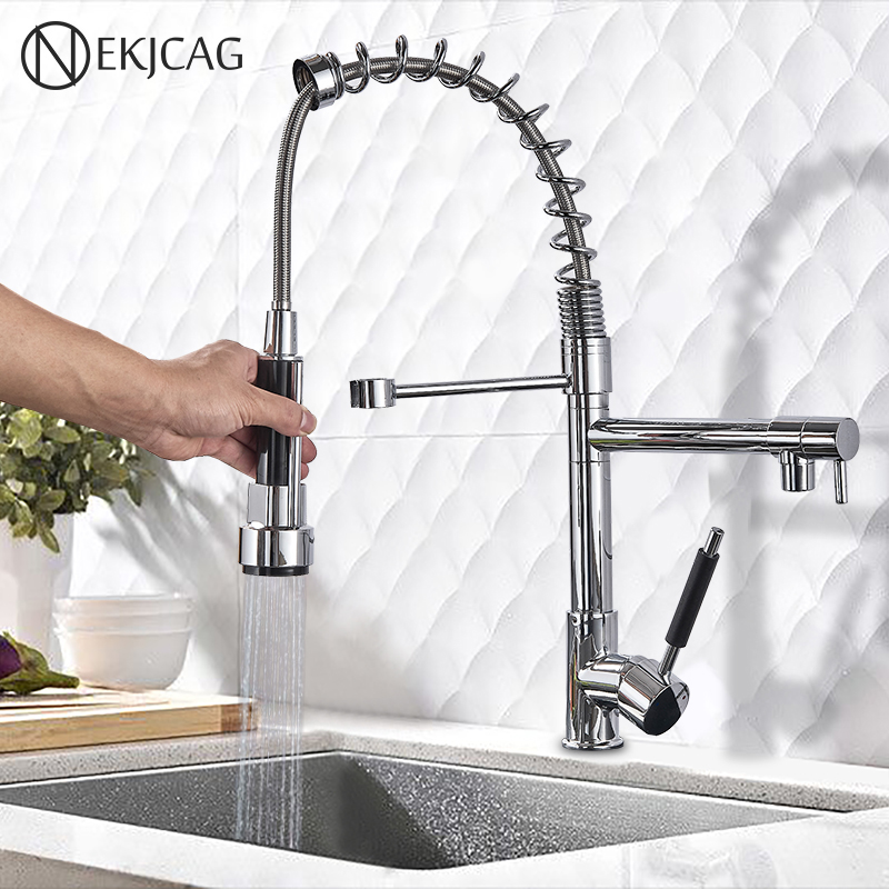 Chrome Finished Single Handle Double Spout Kitchen Faucet Deck Mounted Kitchen Vessel Sink Mixer Tap Pull