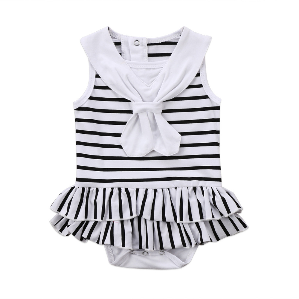 Pudcoco Newborn Baby Clothing Infant Baby Girl Striped ROmper Sleeveless Bow Tie Jumpsuit Playsuit Summer Cotton One-piece newborn infant baby clothes girl sleeveless floral romper jumpsuit playsuit outfit summer girls clothing cotton baby onesie