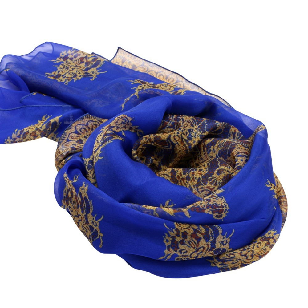 Royal Blue Prints 100% Silk Chiffon Long   Scarf     Wraps   Beach Cover-ups Shawl Summer Lightweight Sunscreen   Scarves