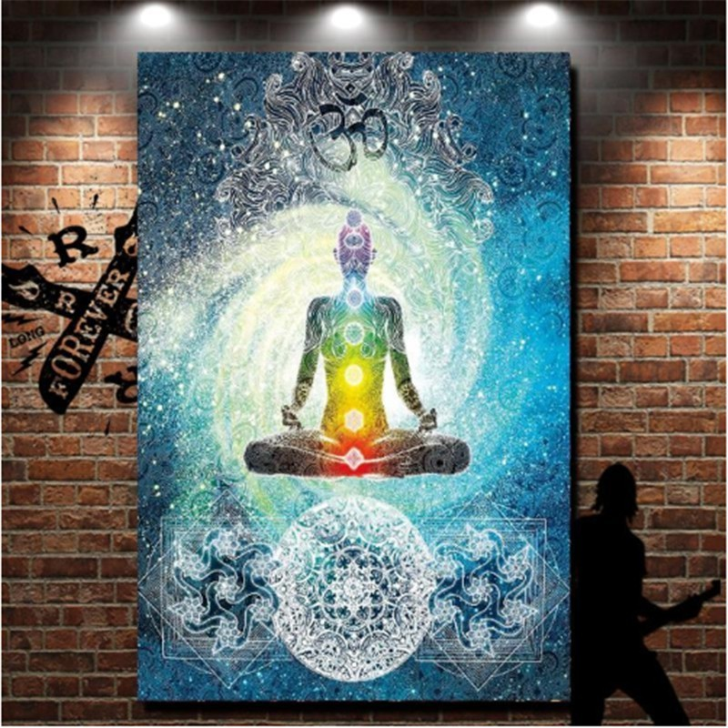 Image 4 - Indian Buddha Statue Tapestry Mandala Wall Fabric Psychedelic Hippie 7 Chakra Tapestry Wall Hanging Carpet Curtain Boho Yoga Mat-in Tapestry from Home & Garden