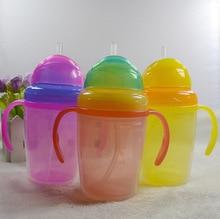 230ml Cute Baby Straw Cup Infant Newborn Bottle Children Learn Feeding Drinking Handle Bottle Kids Straw Juice Water Bottles
