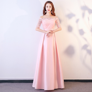 Image 4 - XBQS1107#Lace up Peach pink styles of long medium and short Bridesmaid Dresses wedding party prom dress 2019 wholesale clothing