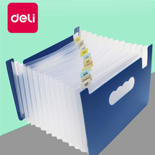 Deli 5PCS 14 Pockets Expanding Files Folder A5 Transparent File Organizer Portable Accordion Folder High Capacity Stationery цена в Москве и Питере