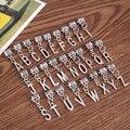 26 mixed encantos de metal banhado a prata letra do alfabeto pingentes grande buraco bead único europeu pulseiras jóias feitas à mão 2801