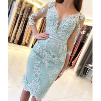 YNQNFS MD94 Party Cocktail Gowns V Neck Sheer Cap Sleeves Short Mother of the Bride Lace Dresses Aqua Green 2019
