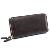 Business Men Wallet Cow Leather Cell Phone Clutch Wallets Long Purse For Men Large Capacity Card Holder Money Bag Male Purse