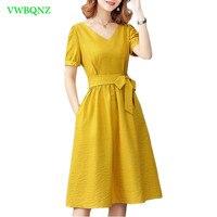 Summer Dress Women Korean Bow tie Hedging V collar Dresses Women's Yellow High Waist Short sleeve A word Dresses Dark blue A539