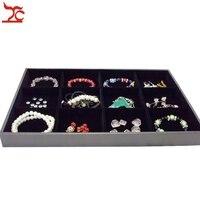 Big Sell Jewelry Display Case 12Grids Black Velvet Beads Bracelet Bangle Necklace Tray 35 24 3CM