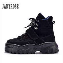 83b2f9feeaf9 Jady Rose Punk Style Women Ankle Boots Lace Up Suede Martin Boots Female  Platform Botas Mujer